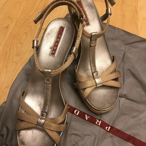 Prada Sandals in silver, cream and yellow